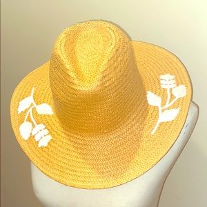 NWT Embroidered Straw Sun Hat